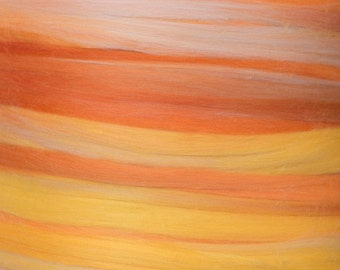 Superfine merino roving, 19 microns, variegated oranges, yellows and tans, tops, sliver