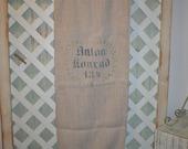 Antique Anton Wreath Leaves Printed German Grainsack Beautiful Washable Linen Soft Glorious