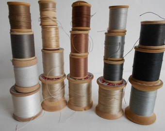 Neutral 19 vintage wood spools of cotton/nylon thread. Star/Belding/Coats and Clarks. brown, black, tan