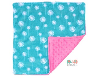 Teal Dandelion Double Minky Lovey, Baby Shower Gift, Security Blanket, Stroller Blanket 17x17 From Kemaily