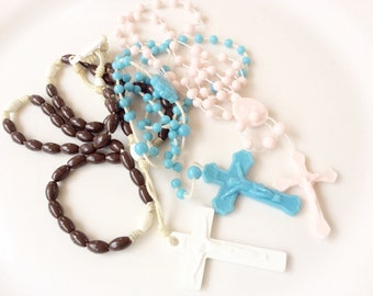 Plastic rosary lot 3 pieces shades of blue rosaries assorted vintage prayer necklaces R9