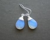 Moonstone Earrings, Oplite Moonstone Jewelry, Blue Stone Dangle Earrings, Sterling Silver, Gift, Everyday Earrings