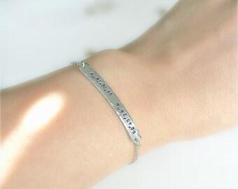 Coordinates Bracelet, Bar Bracelet, Location Bracelet, Custom Coordinates, Coordinates Bar, Friendship Bracelet, Gps Bracelet, Hammered Bar