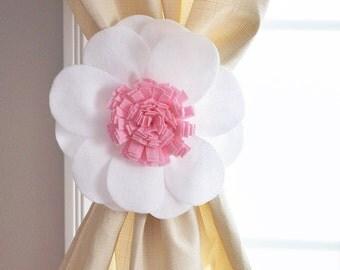 Curtain Tie Backs,Decorative Tie Backs,Curtain Hooks, Drapery Hardware, Window Treatment Daisy Flower, Drapery Tie Backs, Drapery Hooks