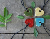 Ceramic heart -  adjustable necklace - choose your color
