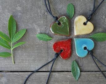 Ceramic heart -  adjustable necklace - choose your color