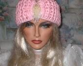 50% OFF SALE Crochet Elegant WomenTeens Baby Pink Ivory Teardrop Head Wrap Turban Ear Warmer