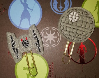 Star Wars TIE fighter or Death Star theme planner paper clips