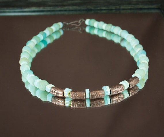 peruvian opal amazonite necklace s beaded