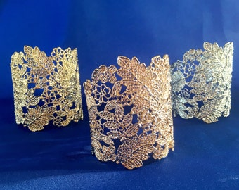 Gold Wedding Bracelet, Bridal Cuff Bracelet, Lace Cuff Bracelet, Statement Wedding Bracelet, Filigree Wrap Bracelet