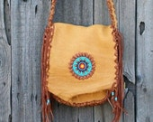 ON SALE Fringed leather bag with sunflower rosette , Fringed leather purse