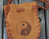 ON SALE Soft leather pouch with yin yang symbol , Drawstring leather amulet bag