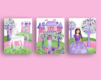 princess nursery art, unicorn art prints, princess bedroom wall art decor, girl princess art