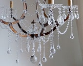 WINTER SALE Italian vintage repurposed 5 arms birdcage crystal chandelier, clear Murano glass crystals, drops swags one-of-a-kind