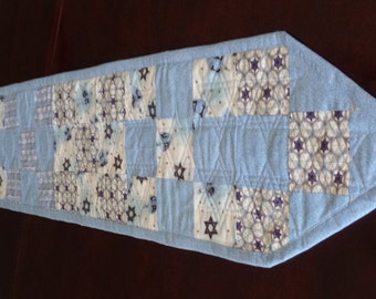 "Quilted Patchwork Hebrew Table Runner 10"" x 62"""