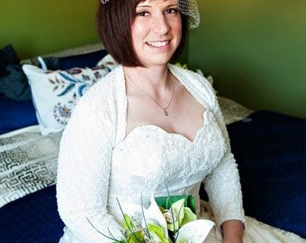 Bridal Bolero Shrug, Wedding Cover Up, Lace Shrug Bolero, Nude Lining, Stretch Lace in Black, White or Ivory, 3/4 sleeves