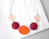 Eco Friendly Jewelry, Recycled Glass Necklace, Seaglass Look, Orange, Red, Peach, Nickel Free Sterling Silver, Multicolor Adjustable
