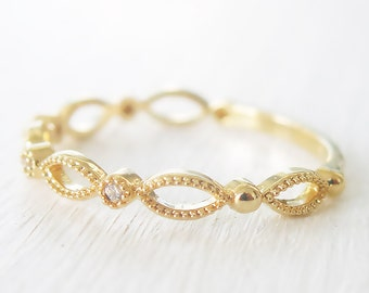 gold filled ring, crystal gold ring, half eternity ring, thin gold ring, band ring, eternity band, clear gold ring, dainty gold ring