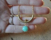 Chrysoprase and Brass Tube Necklace