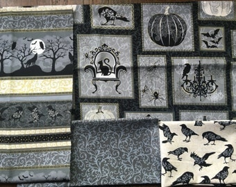 Halloween Gray, Gold Metallic and Black - Spellbound from Henry Glass - 4 FQ or Half Yard Bundle Elegant Halloween