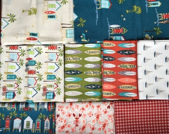 Beach Hut and Surf Boards - Offshore from Riley Blake - 10 Fat Quarter Bundle Beach Sailboats, Lobsters Ocean