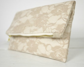 Champagne lace clutch, fold over beige lace clutch | Nude Lace Clutch