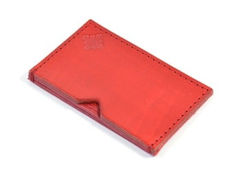 Handmade Leather Card Wallet Hand Dyed Red Vegetable Tanned
