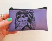 Purple Sloth Change Purse Wallet Vegan