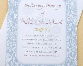 Sympathy Thank You Cards with Blue Carnations - Personalized - FLAT Cards