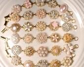HOLD Gold Blush Pink Champagne Bridal Bridesmaid Bracelet Set 6 7 8 9, OOAK Ivory Pearl Rhinestone, Vintage Wedding Earring Bracelets Flower