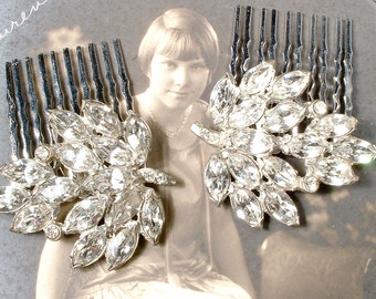 OOAK Antique Art Deco Rhinestone Bridal Hair Comb Pair Vintage 1920 Silver Marquise Crystal Leaf Dress Clip Hairpiece Hollywood Glam Wedding