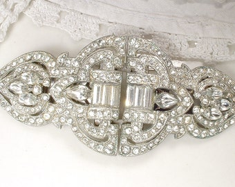 1920s Hair Comb, Duette Brooch, or Dress Clips, Large Authentic 1930s Vintage Art Deco Rhinestone Bridal Sash Pin Accessory / Head Piece