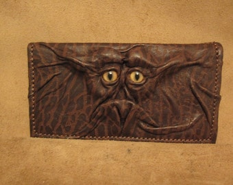 "Grichels leather checkbook cover - ""Selizat"" 28124 - scaly brown with honey brown and green slit pupil bobcat eyes"