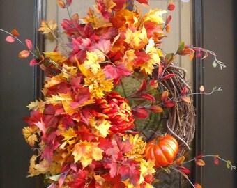 Fall Pumpkin Wreath, Fall Wreath, Thanksgiving Wreath, Autumn Decor, Etsy Fall Wreaths, Wreaths For Fall