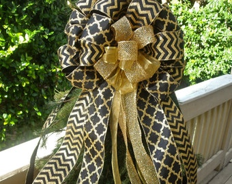 Black and Gold Christmas Tree Topper, Gold and Black Bow Topper, Custom Tree Topper, Double Bow Topper