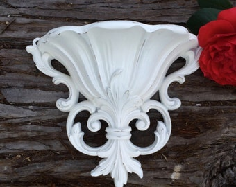 Vintage Heirloom White Wall Pocket Sconce Planter by Dart