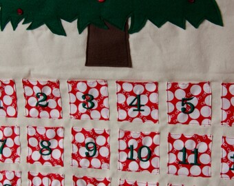 Christmas Tree Advent Calendar Countdown - Red and White Ornament Pockets