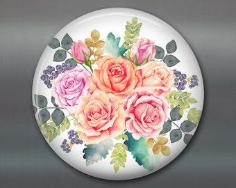 shabby rose kitchen decor, decorative magnets, shabby rose art kitchen decoration housewarming gift, large round magnet, shabby chic kitchen