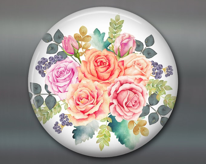 shabby rose kitchen decor, decorative magnets, shabby rose art kitchen decoration housewarming gift, large round magnet, shabby chic kitchen
