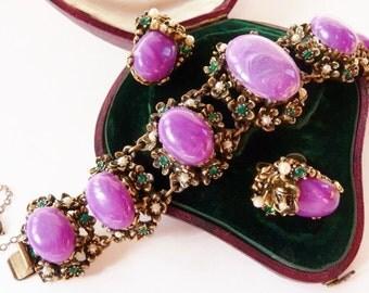 Vintage Renaissance Revival bracelet | screw back earrings | Game of Thrones | Selro style bracelet | unsigned