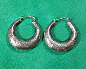 Silver Hoop Earrings Creole Jewelry Southwestern Style Etchings Thick Round Shape Darkened by Oxidation Patina Can Be Polished If Desired