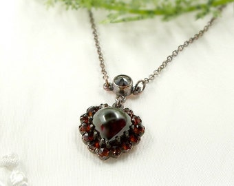Vintage garnet heart necklace in Victorian style || ГРАНАТ #PK