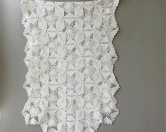 Vintage Crocheted Dresser Scarf, Runner, White