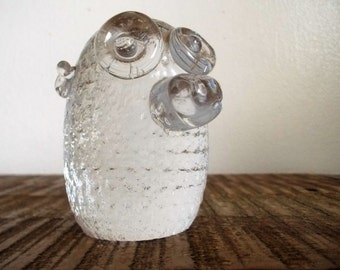 Vintage Bergdala Silly Troll Head Glass Figural Paperweight