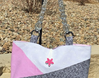 Gray Pink White Eyelet Lace Shoulder Purse. Color Block over the shoulder bag. Cotton Fabric Purse. Crystal top handle handbag