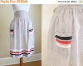 20% Off FALL SALE Vintage Apron Hostess Swiss Dot Lavender Red Stripes 50s
