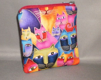 Coin Purse - Mini Wallet - Card Case - Small Padded Zippered Pouch - Cats - Laurel Burch