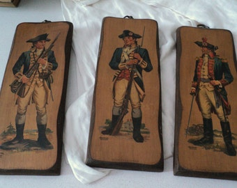 Three Frederick Elmiger Colonial Revolutionary War Wall Plaques 1970s Shabby Chic