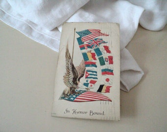 Vintage  WW I Postcard Our Allies  In Honor Bound 1917