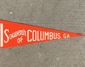 Vintage Columbus Georgia Orange Pennant